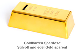 Goldbarren Spardose Money